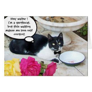 GENTLE CAT IN THE RESTAURANT Happy Birthday Cards