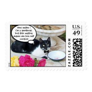 GENTLE CAT IN THE RESTAURANT Happy Birthday Stamp