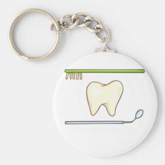 Gentle Dental- tooth mirror brush Basic Round Button Keychain
