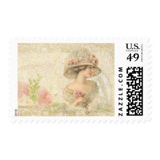 Gentle Edwardian Flower Lady Vintage Stamp