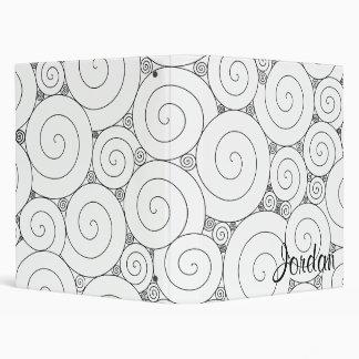 Gentle Geometric Black & White Spirals 3 Ring Binder