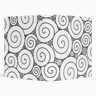 Gentle Geometric Black & White Spirals Binder