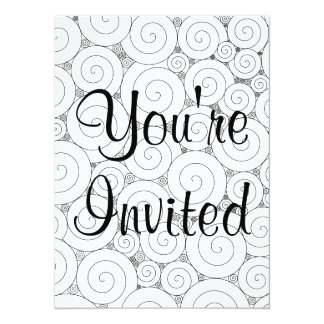 Gentle Geometric Black & White Spirals 5.5x7.5 Paper Invitation Card