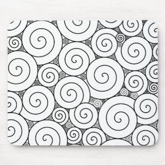 Gentle Geometric Black & White Spirals Mouse Pad