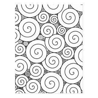 Gentle Geometric Black & White Spirals Postcard