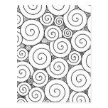 Gentle Geometric Black & White Spirals Postcards