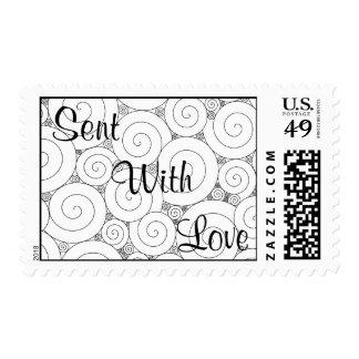 Gentle Geometric Black & White Spirals Stamp