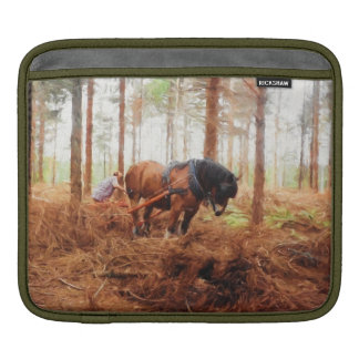 Gentle Giant - Draft Horse Hauling Logs in Forest iPad Sleeve