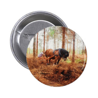 Gentle Giant - Draft Horse Hauling Logs in Forest Pinback Button