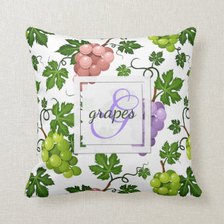 Gentle Grapes and Grapevines Throw Pillow
