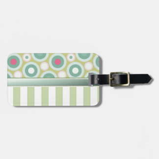 Gentle green stripes with pastel green/ pink dots luggage tag