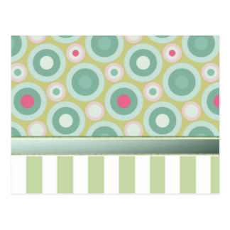 Gentle green stripes with pastel green/ pink dots postcard