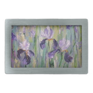 Gentle irises rectangular belt buckle