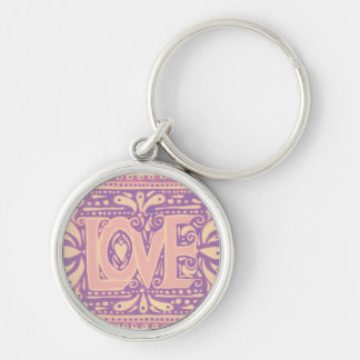 Gentle Love Silver-Colored Round Keychain