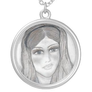 Gentle Mary Round Pendant Necklace