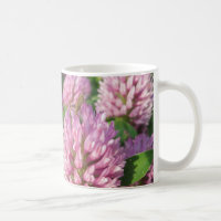 Gentle pink and green clover coffee mug