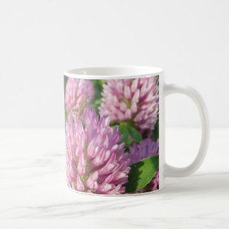 Gentle pink and green clover coffee mug