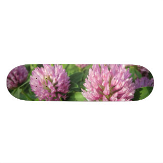 Gentle pink and green clover skateboard