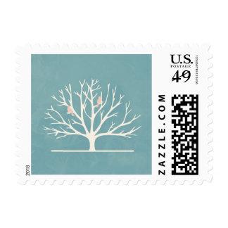 Gentle Pink Bird Tree Stamp