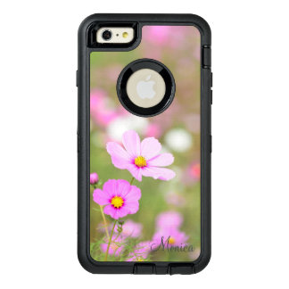 Gentle Pink Flower - Personalized with Name OtterBox Defender iPhone Case