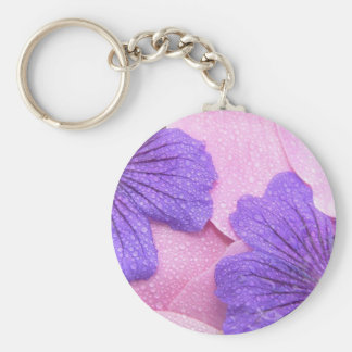 Gentle Pink Petals Mix Purple Flowers Dew Dropped Keychain