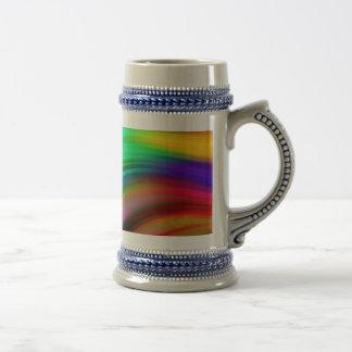 Gentle Rainbow Waves Abstract Beer Stein