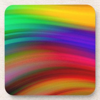 Gentle Rainbow Waves Abstract Coaster