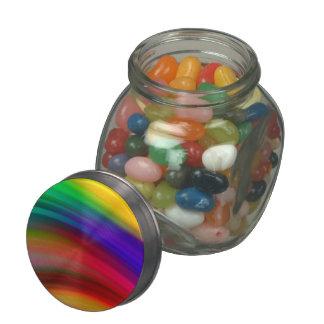 Gentle Rainbow Waves Abstract Glass Jar