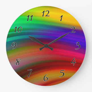 Gentle Rainbow Waves Abstract Large Clock