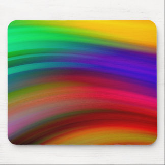 Gentle Rainbow Waves Abstract Mouse Pad