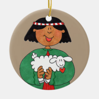 Gentle Shepherd Christmas Taupe Circle Ornament