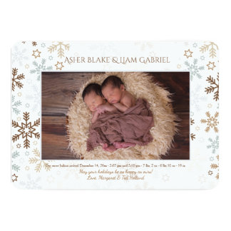 Gentle Snowflakes Photo Birth Announcement