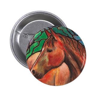 Gentle Spirit Horse Stained Glass Mosaic Art 2 Inch Round Button