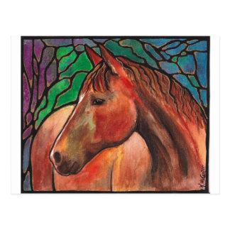 Gentle Spirit Horse Stained Glass Mosaic Art Postcard