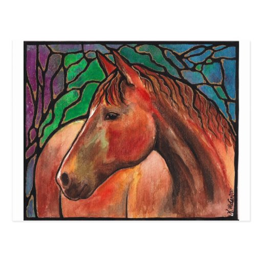 Gentle Spirit Horse Stained Glass Mosaic Art Post Cards