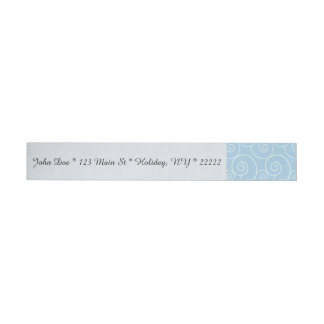 Gentle White Swirls on Baby Blue Wrap Around Address Label