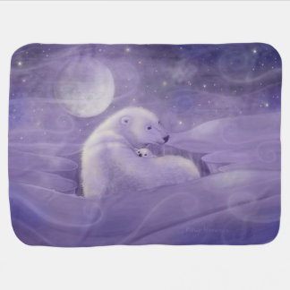 Gentle Winter Polar Bear and Cub Receiving Blanket