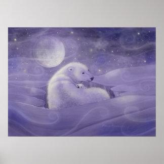 Gentle Winter Polar Bear Art Poster Print