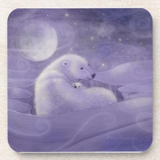Gentle Winter Polar Bear Set of 6 Coasters
