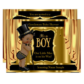 Gentleman Baby Shower Black Gold Drapes Ethnic Card