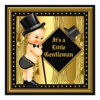 Gentleman Baby Shower Boy Gold Black Blonde Baby Card