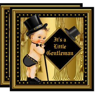 Gentleman Baby Shower Boy Gold Black Brunette Baby Card