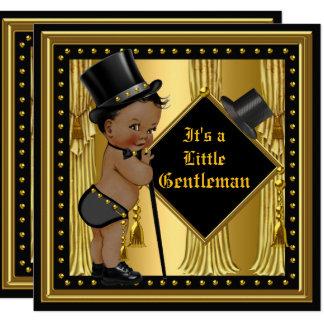 Gentleman Baby Shower Boy Gold Black Ethnic Card