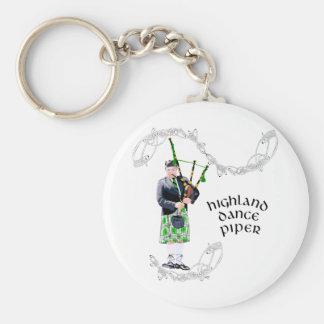 Gentleman Bagpiper in Green Kilt Basic Round Button Keychain