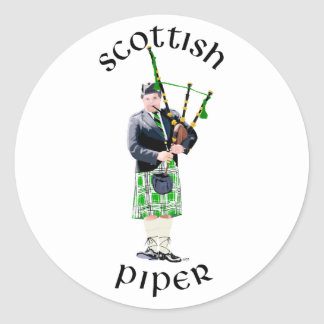 Gentleman Bagpiper in Green Kilt Classic Round Sticker