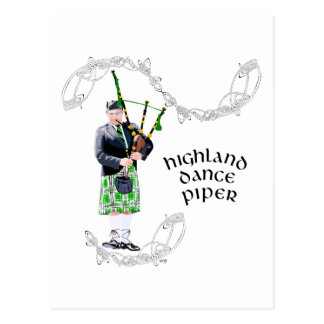 Gentleman Bagpiper in Green Kilt Postcard
