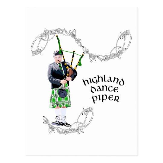 Gentleman Bagpiper in Green Kilt Postcard