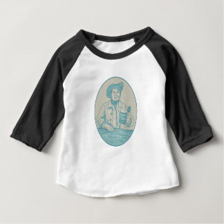 Gentleman Beer Drinker Tankard Oval Drawing Baby T-Shirt