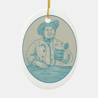 Gentleman Beer Drinker Tankard Oval Drawing Ceramic Ornament