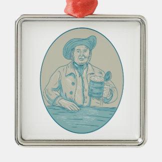 Gentleman Beer Drinker Tankard Oval Drawing Metal Ornament